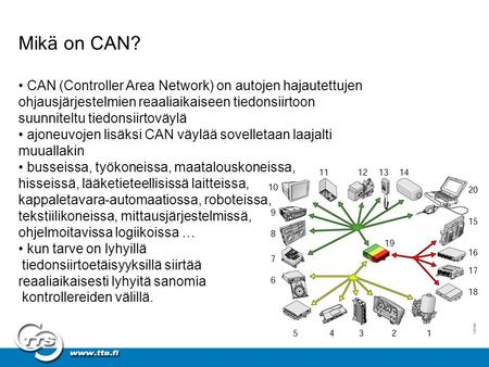 Mikä on CAN? • CAN (Controller Area Network) on autojen hajautettujen