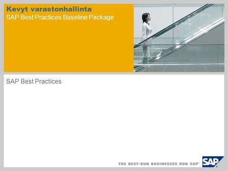 Kevyt varastonhallinta SAP Best Practices Baseline Package