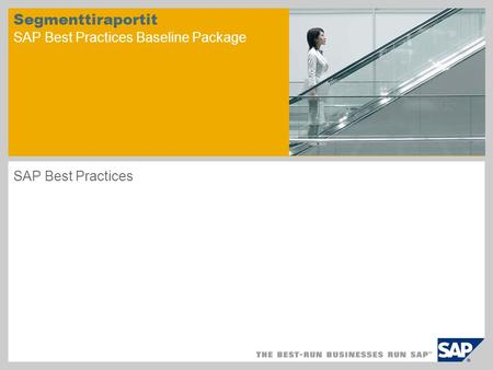 Segmenttiraportit SAP Best Practices Baseline Package SAP Best Practices.