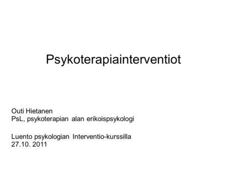 Psykoterapiainterventiot