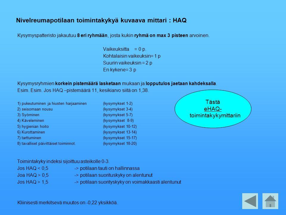 Nivelreumapotilaan toimintakykyä kuvaava mittari : HAQ