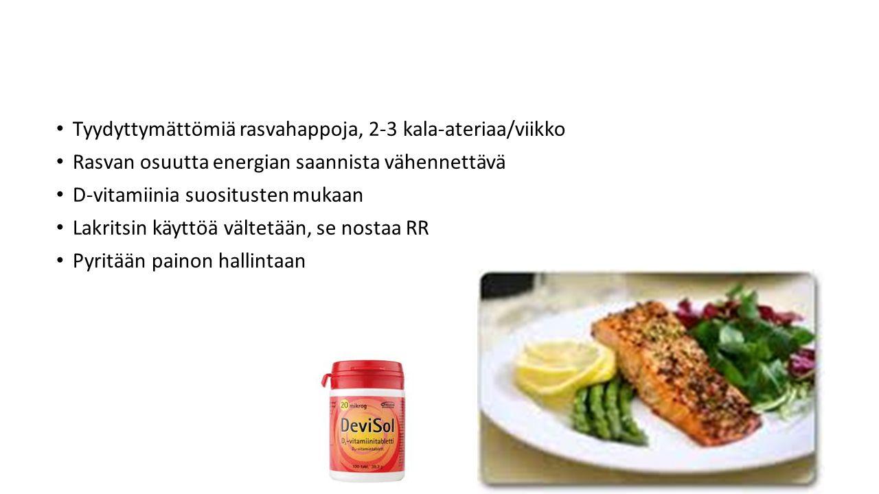 Tyydyttymättömiä rasvahappoja, 2-3 kala-ateriaa/viikko