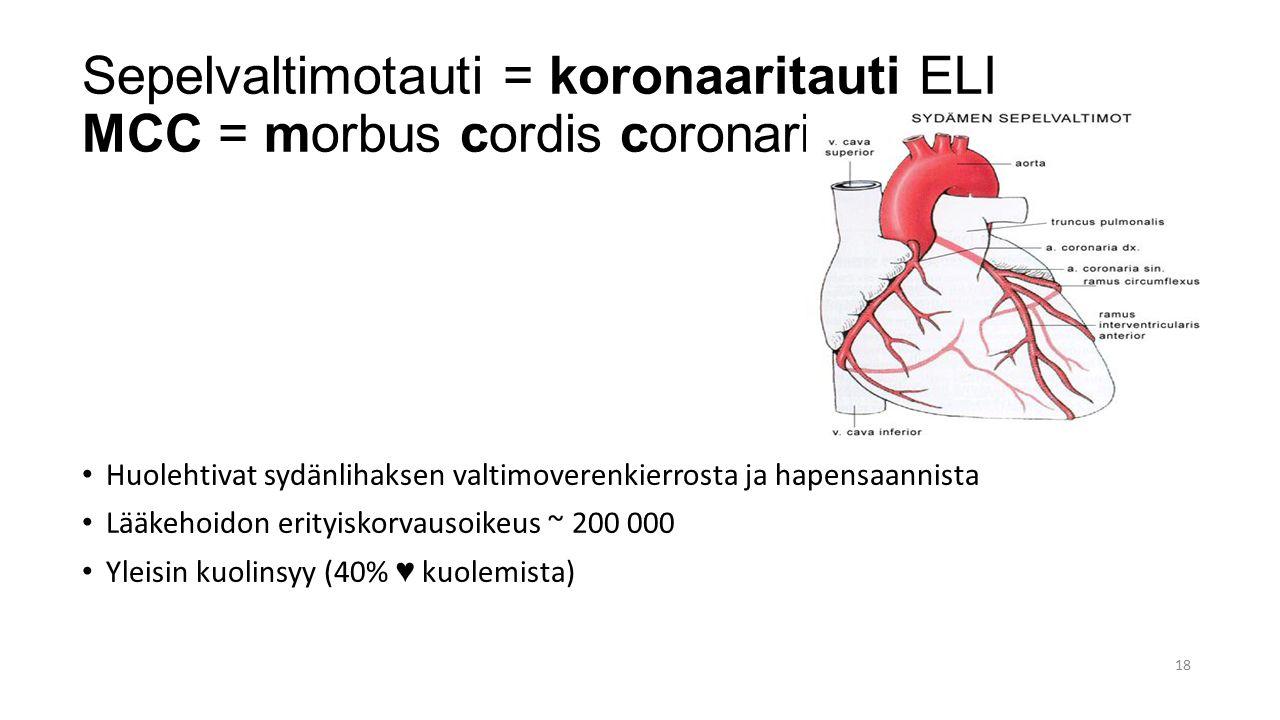 Sepelvaltimotauti = koronaaritauti ELI MCC = morbus cordis coronarius
