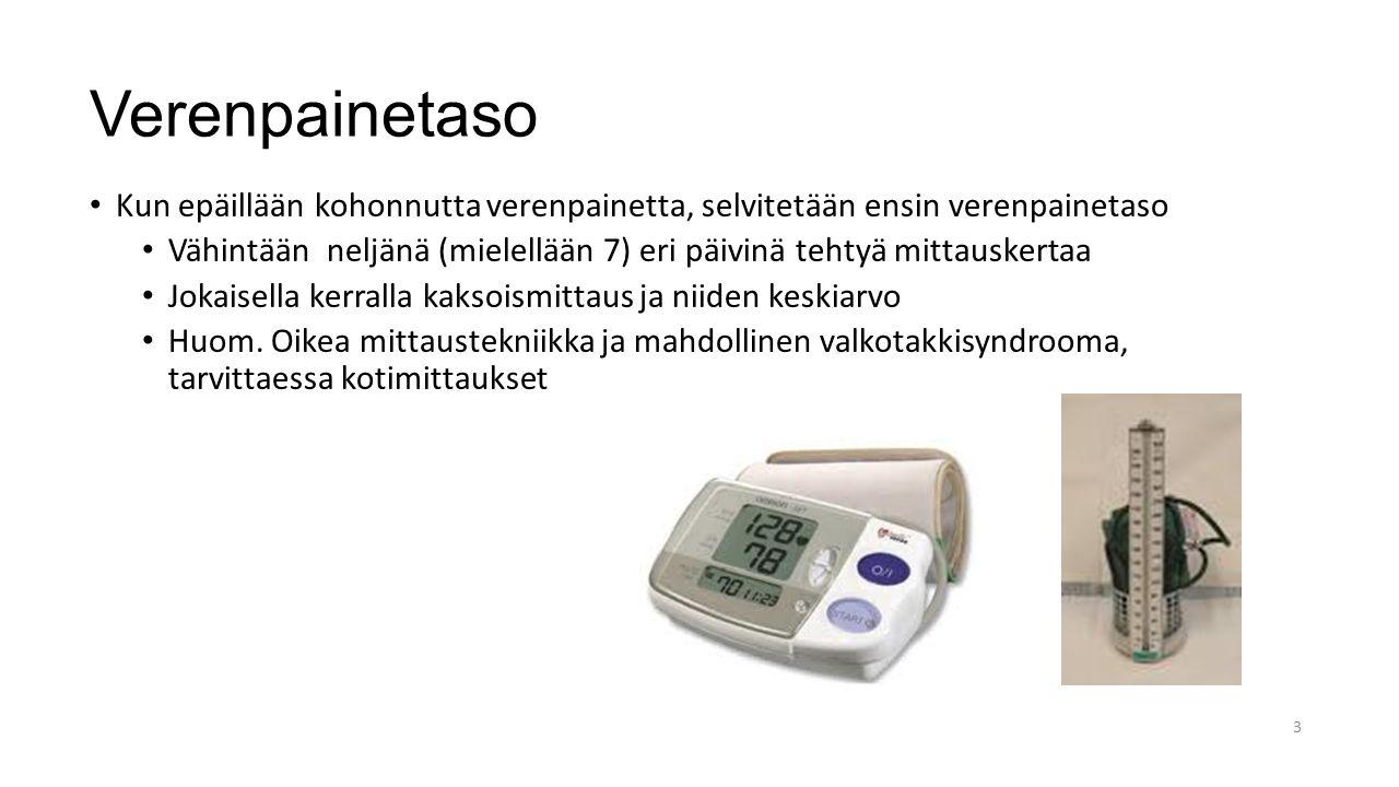 Verenpainetaso Kun epäillään kohonnutta verenpainetta, selvitetään ensin verenpainetaso.