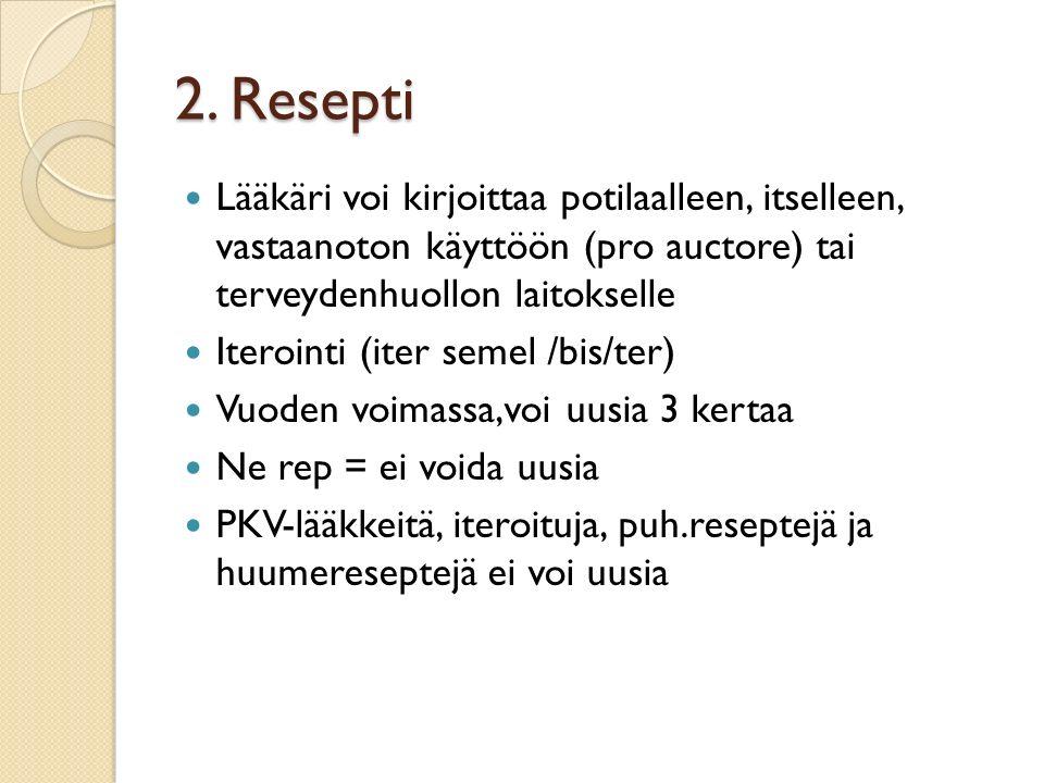 2. Resepti Lääkäri voi kirjoittaa potilaalleen, itselleen, vastaanoton käyttöön (pro auctore) tai terveydenhuollon laitokselle.