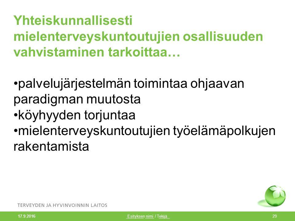 Esityksen nimi / Tekijä