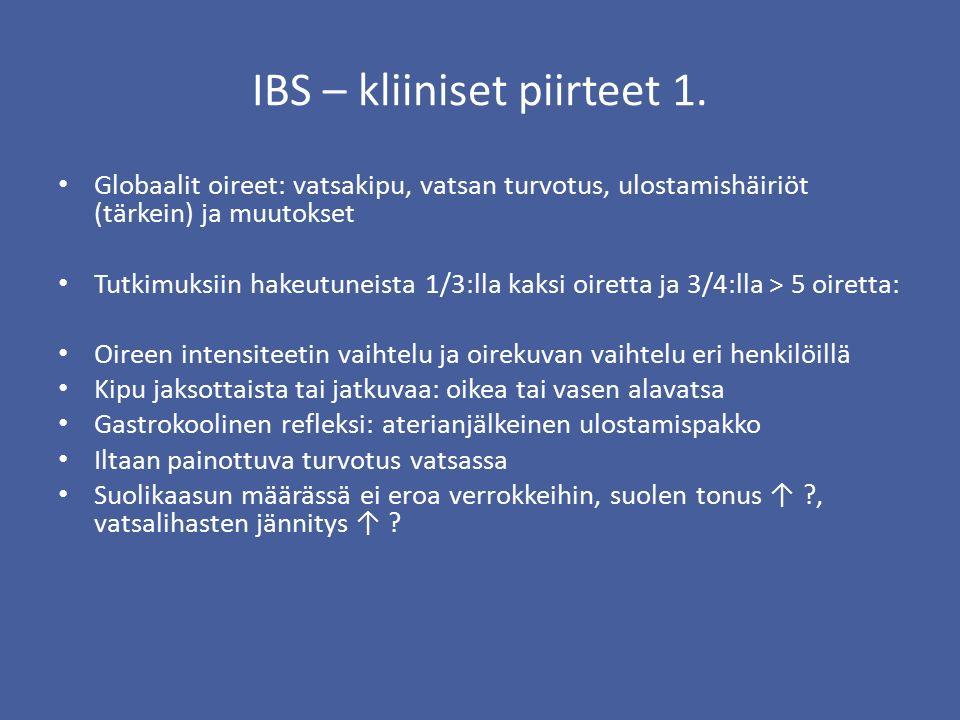 IBS – kliiniset piirteet 1.