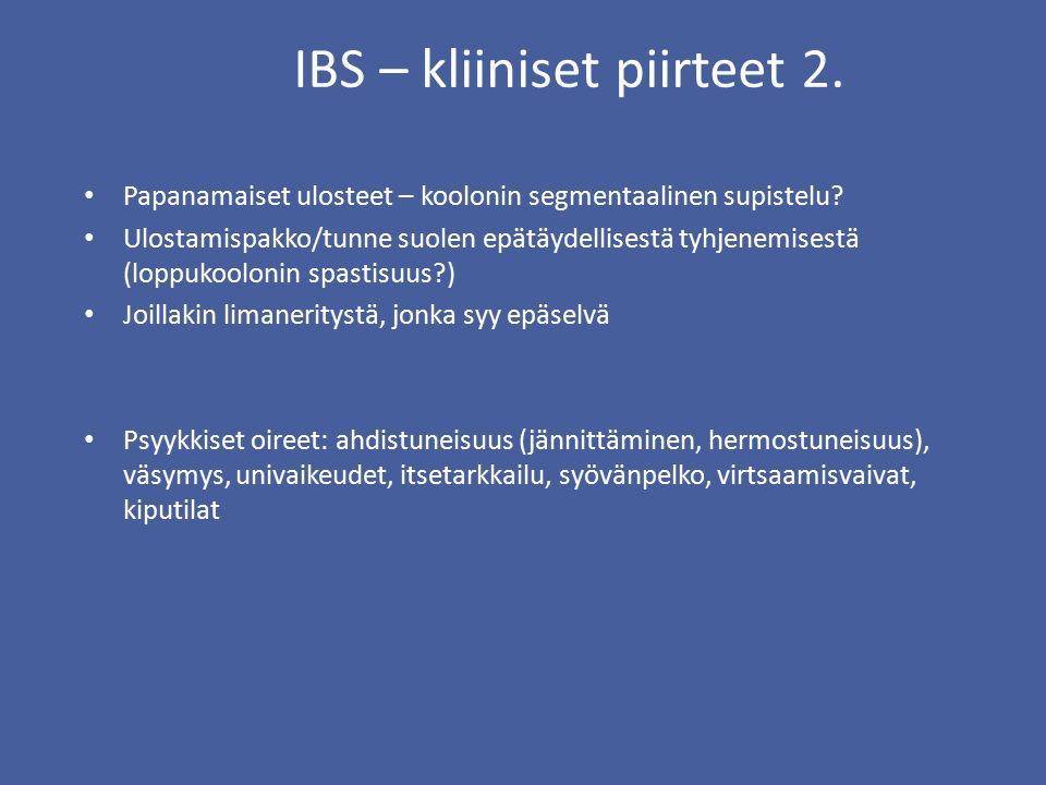 IBS – kliiniset piirteet 2.