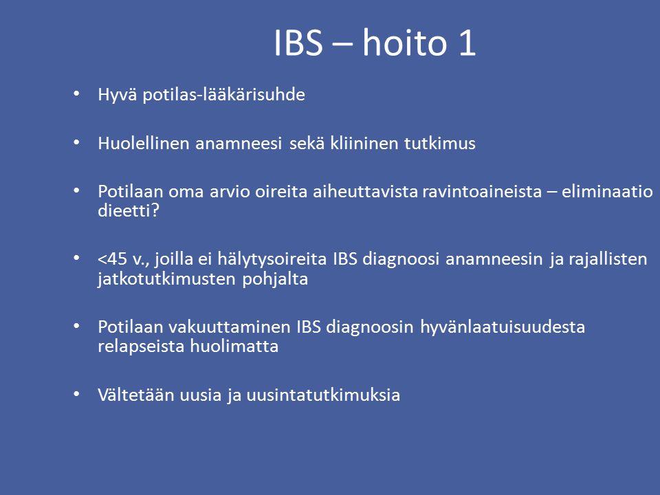 IBS – hoito 1 Hyvä potilas-lääkärisuhde