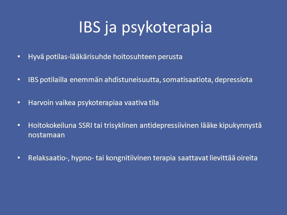 IBS ja psykoterapia Hyvä potilas-lääkärisuhde hoitosuhteen perusta