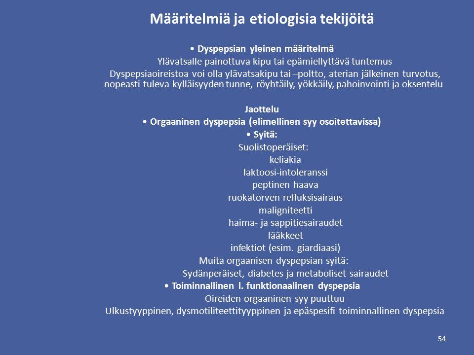 Määritelmiä ja etiologisia tekijöitä