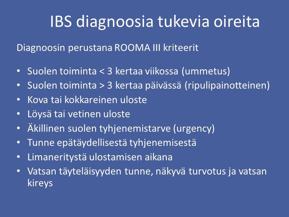 IBS diagnoosia tukevia oireita