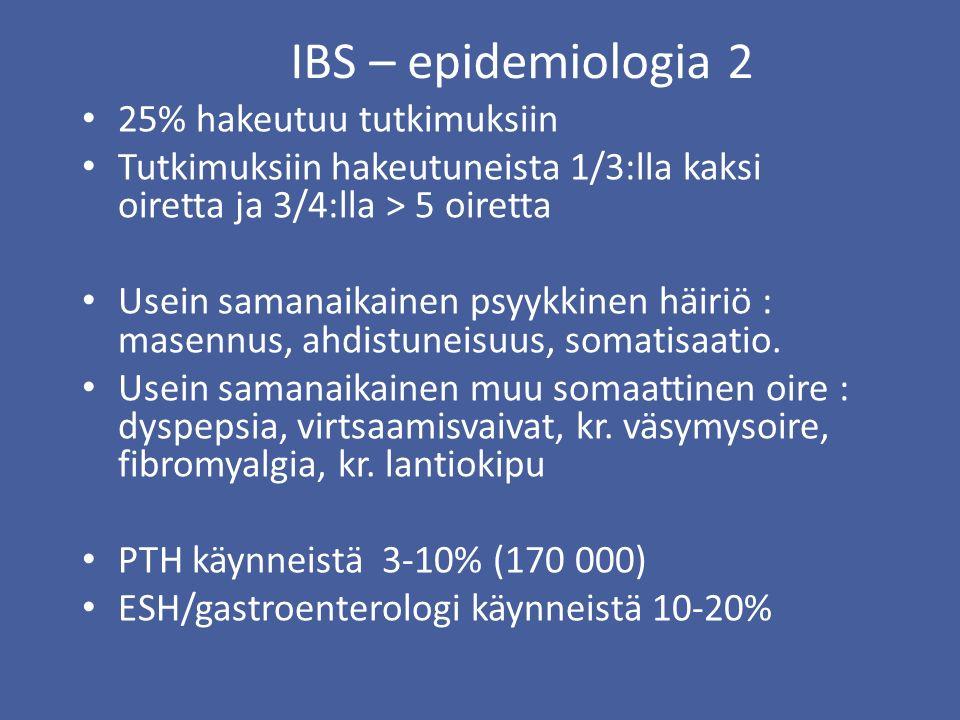 IBS – epidemiologia 2 25% hakeutuu tutkimuksiin
