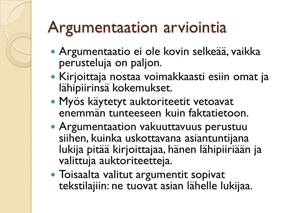 Argumentaation arviointia