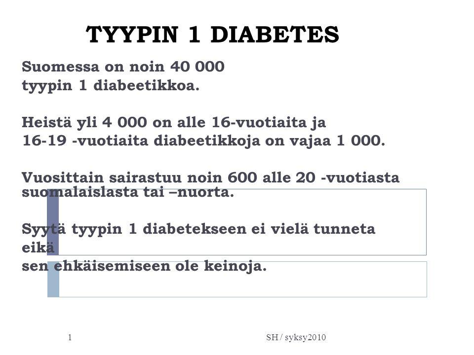 TYYPIN 1 DIABETES Suomessa on noin 40 000 tyypin 1 diabeetikkoa.