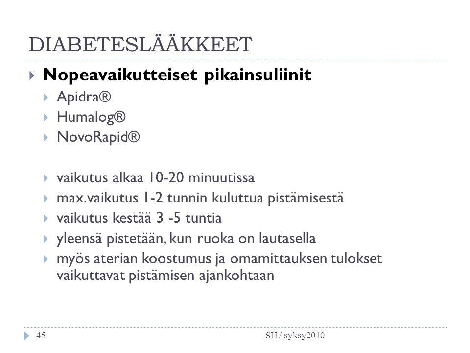 DIABETESLÄÄKKEET Nopeavaikutteiset pikainsuliinit Apidra® Humalog®