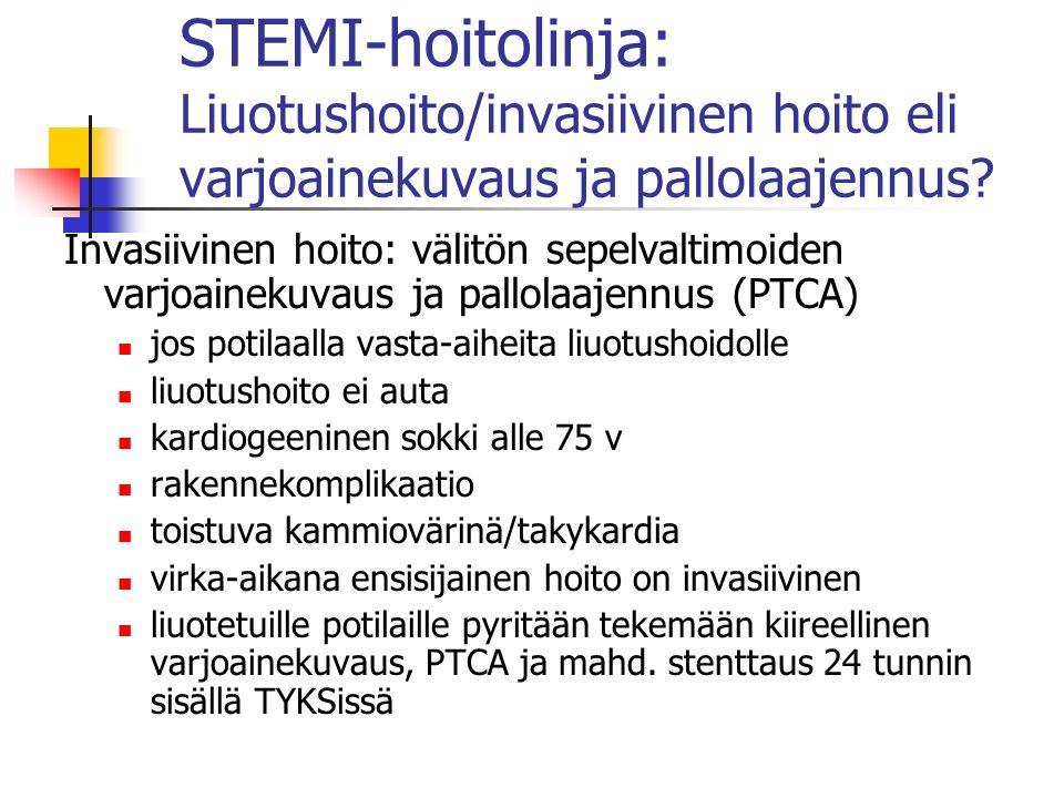 STEMI-hoitolinja: Liuotushoito/invasiivinen hoito eli varjoainekuvaus ja pallolaajennus