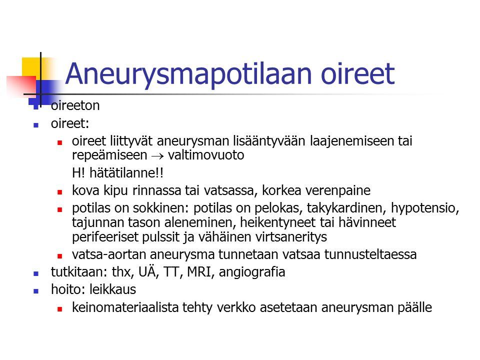 Aneurysmapotilaan oireet