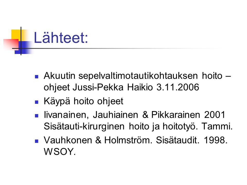 Lähteet: Akuutin sepelvaltimotautikohtauksen hoito –ohjeet Jussi-Pekka Haikio 3.11.2006. Käypä hoito ohjeet.