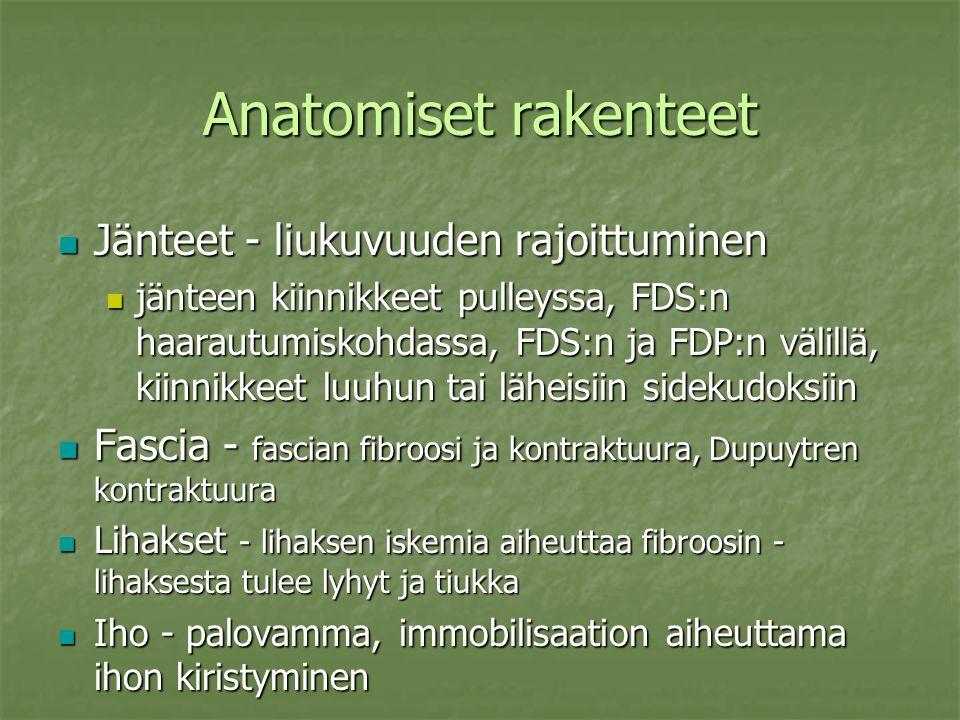 Anatomiset rakenteet Jänteet - liukuvuuden rajoittuminen