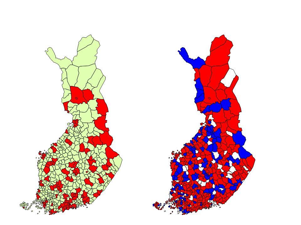 Esimerkki ominaisuustiedon hyödyntämisestä: Teemakartta väestönmuutoksesta 2000-2002