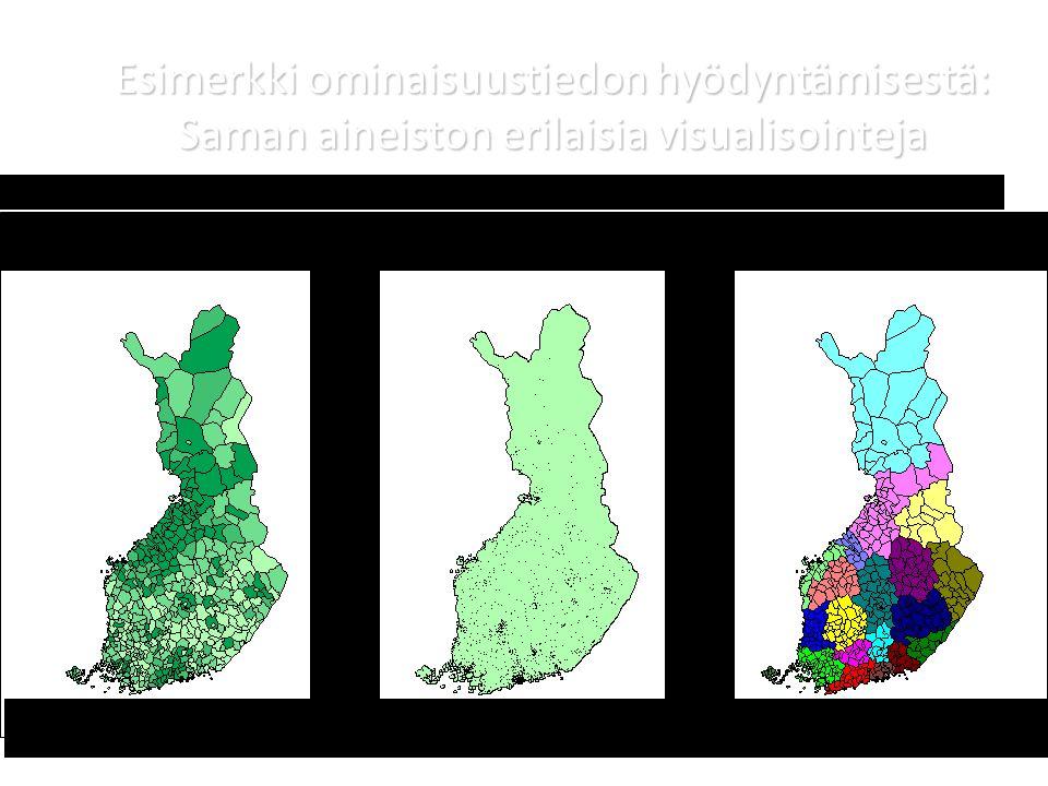 Esimerkki ominaisuustiedon hyödyntämisestä: Saman aineiston erilaisia visualisointeja