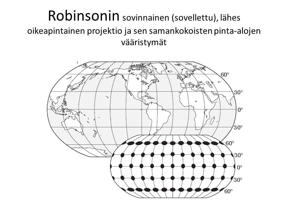 Robinsonin sovinnainen (sovellettu), lähes oikeapintainen projektio ja sen samankokoisten pinta-alojen vääristymät