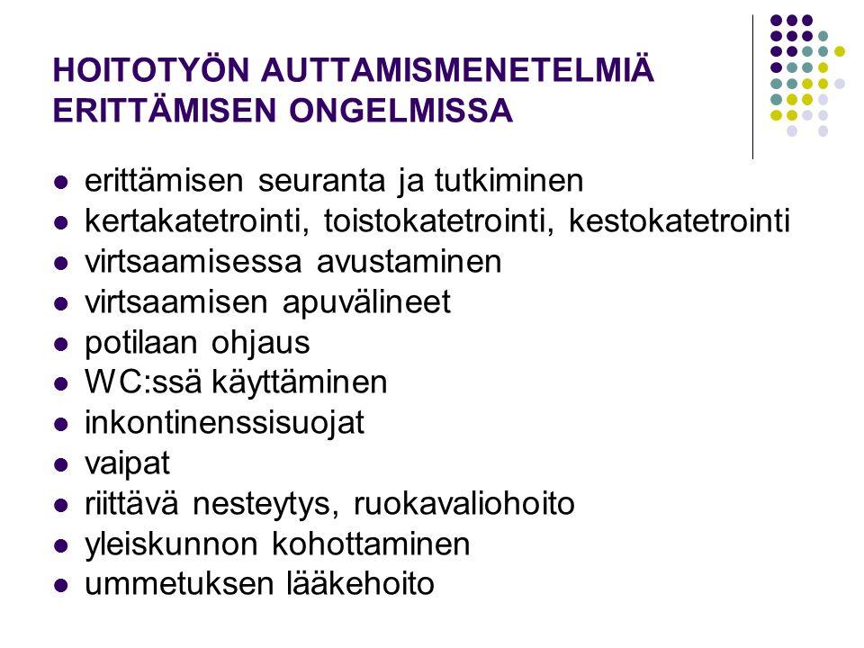 HOITOTYÖN AUTTAMISMENETELMIÄ ERITTÄMISEN ONGELMISSA