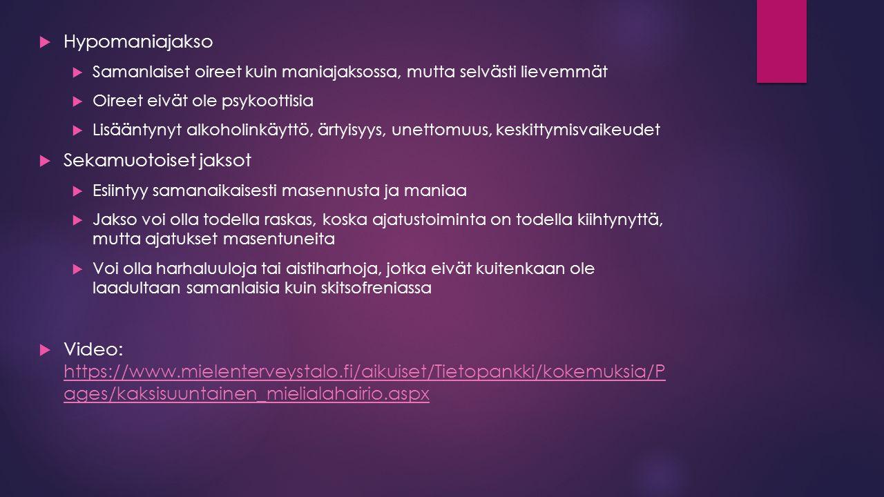 Hypomaniajakso Sekamuotoiset jaksot