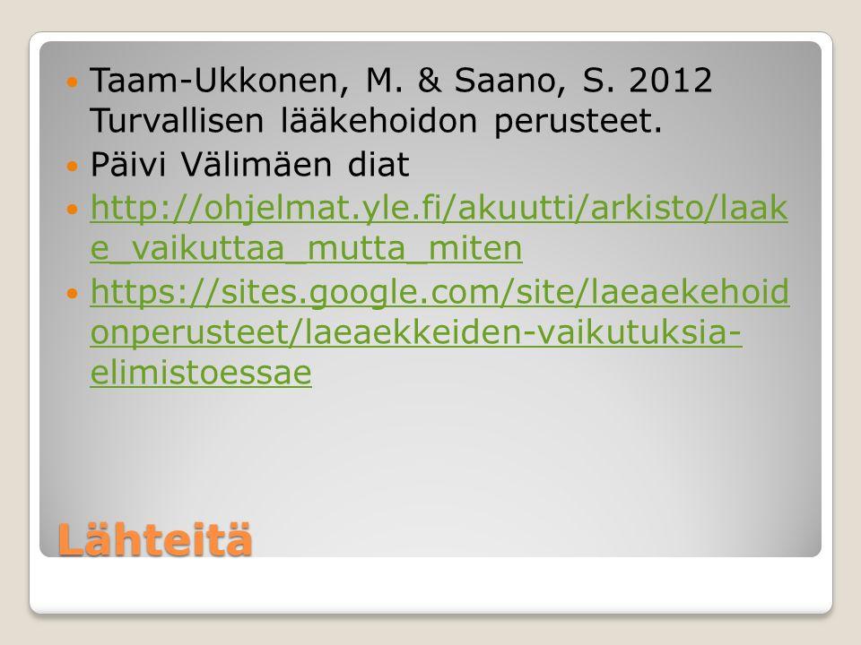 Taam-Ukkonen, M. & Saano, S. 2012 Turvallisen lääkehoidon perusteet.