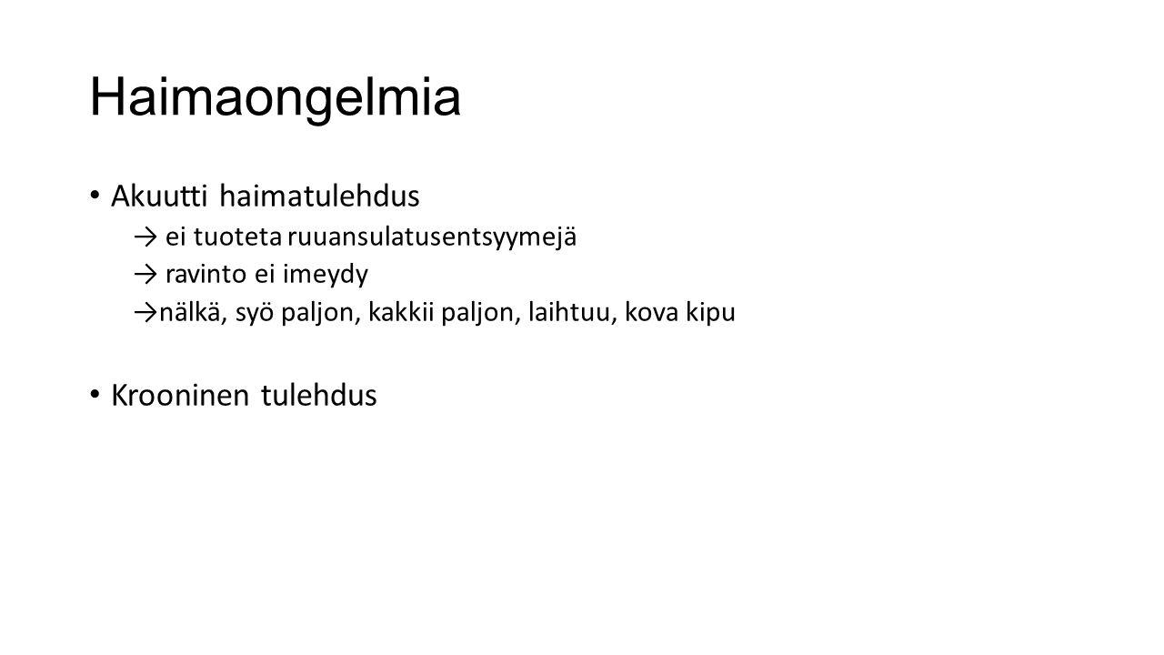 Haimaongelmia Akuutti haimatulehdus Krooninen tulehdus