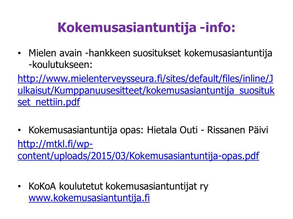Kokemusasiantuntija -info: