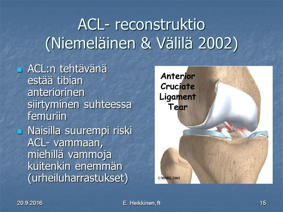 ACL- reconstruktio (Niemeläinen & Välilä 2002)