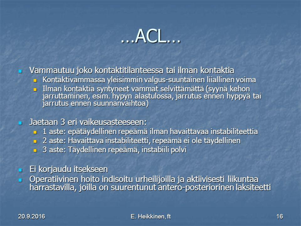 …ACL… Vammautuu joko kontaktitilanteessa tai ilman kontaktia