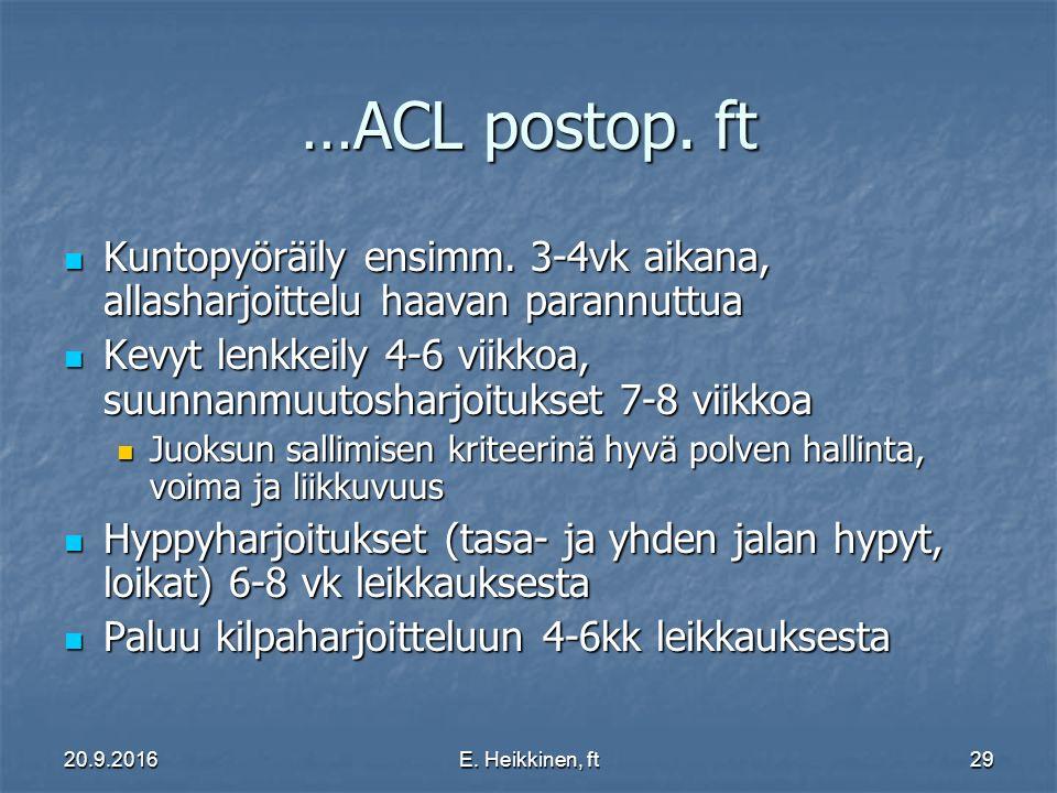 …ACL postop. ft Kuntopyöräily ensimm. 3-4vk aikana, allasharjoittelu haavan parannuttua.