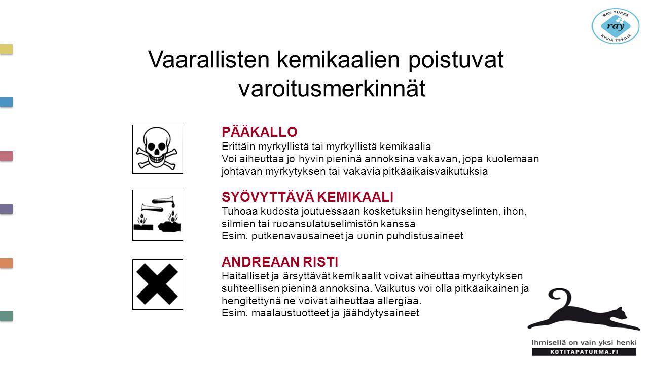 Vaarallisten kemikaalien poistuvat varoitusmerkinnät