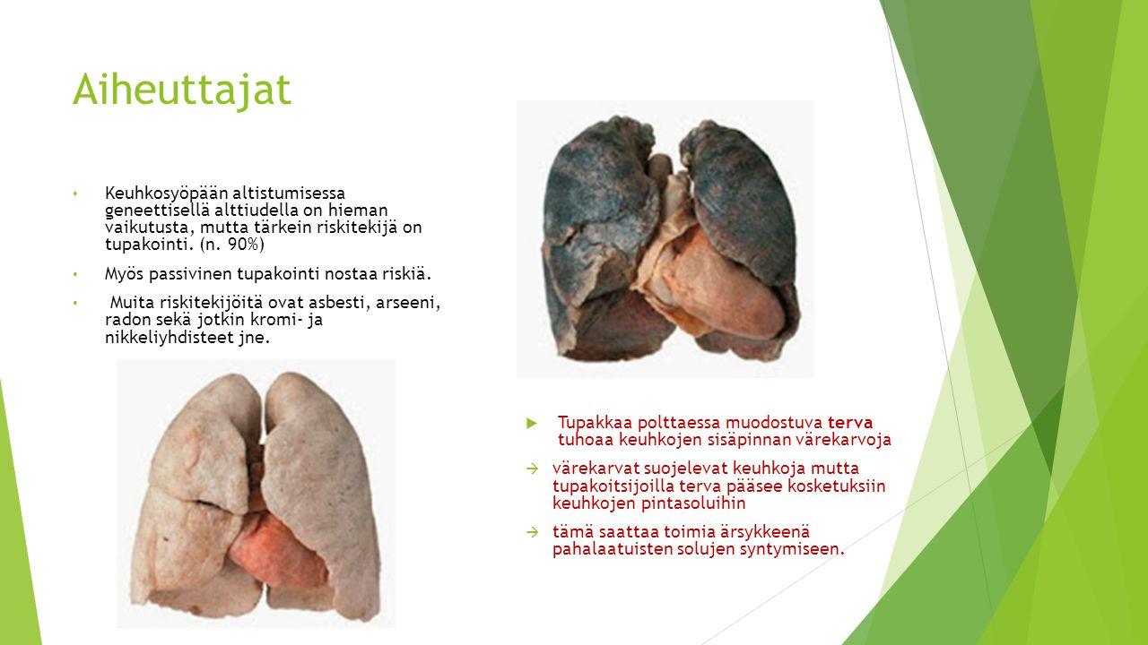 Aiheuttajat Keuhkosyöpään altistumisessa geneettisellä alttiudella on hieman vaikutusta, mutta tärkein riskitekijä on tupakointi. (n. 90%)