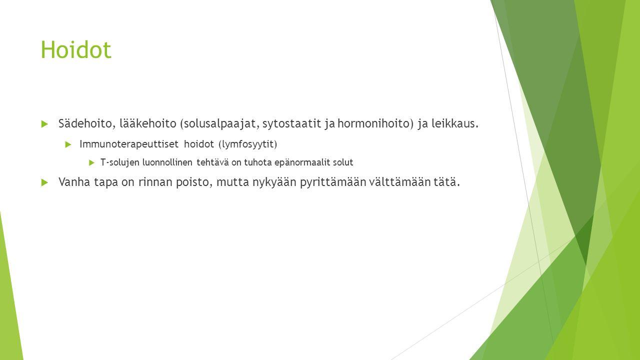 Hoidot Sädehoito, lääkehoito (solusalpaajat, sytostaatit ja hormonihoito) ja leikkaus. Immunoterapeuttiset hoidot (lymfosyytit)