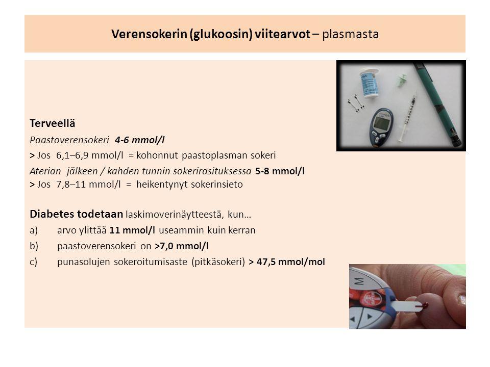 Verensokerin (glukoosin) viitearvot – plasmasta