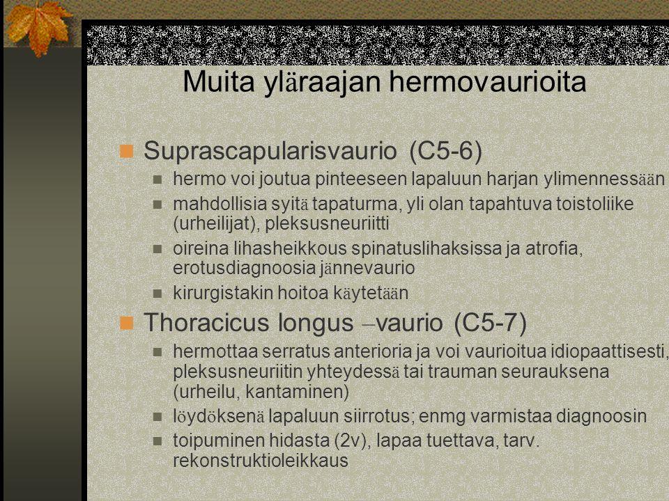 Muita yläraajan hermovaurioita