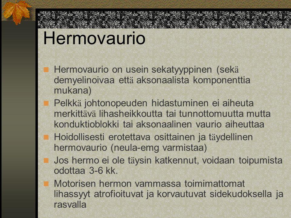 Hermovaurio Hermovaurio on usein sekatyyppinen (sekä demyelinoivaa että aksonaalista komponenttia mukana)