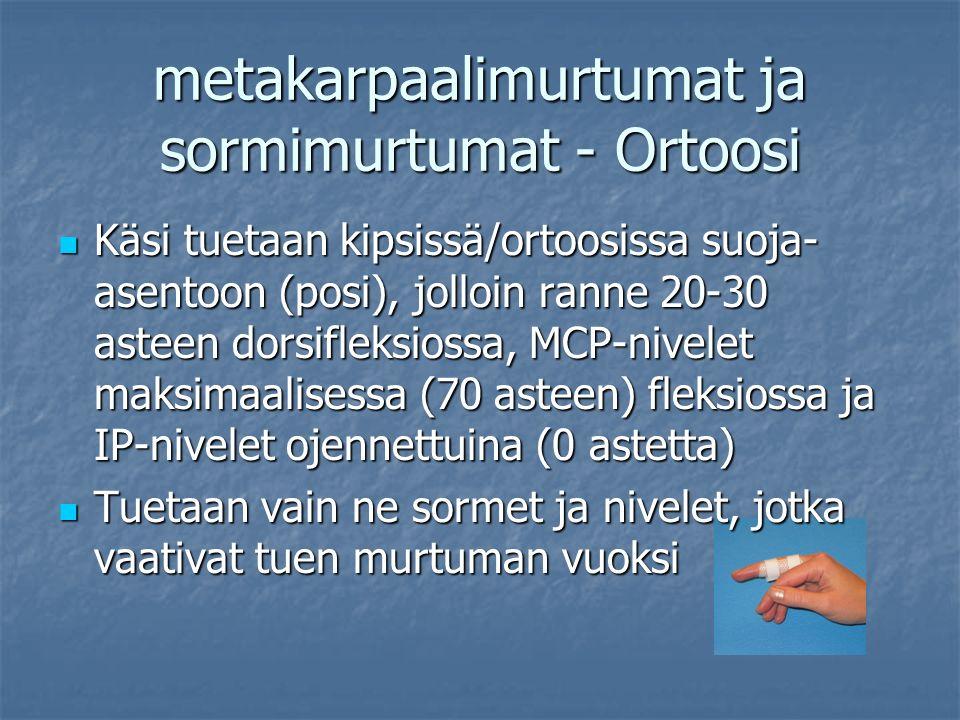 metakarpaalimurtumat ja sormimurtumat - Ortoosi