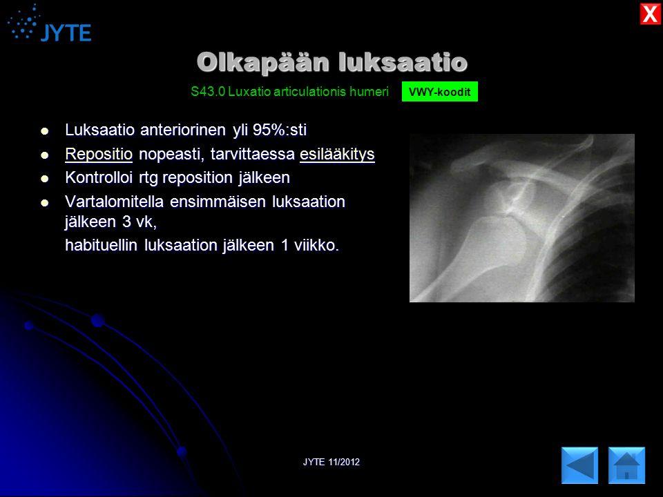 Olkapään luksaatio X Luksaatio anteriorinen yli 95%:sti