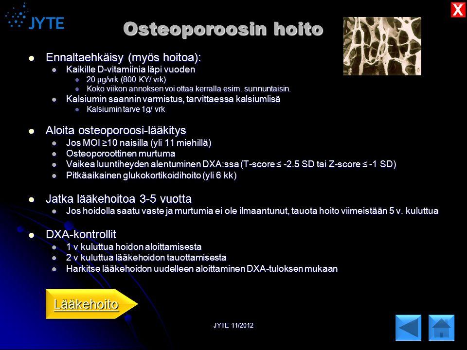 Osteoporoosin hoito X Lääkehoito Ennaltaehkäisy (myös hoitoa):