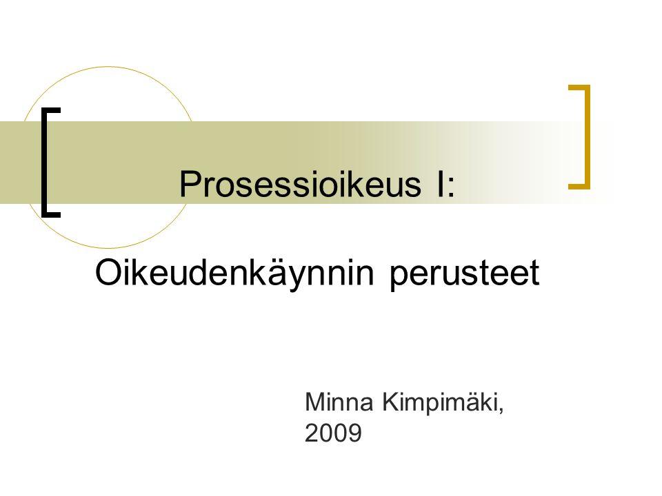 Prosessioikeus I: Oikeudenkäynnin perusteet