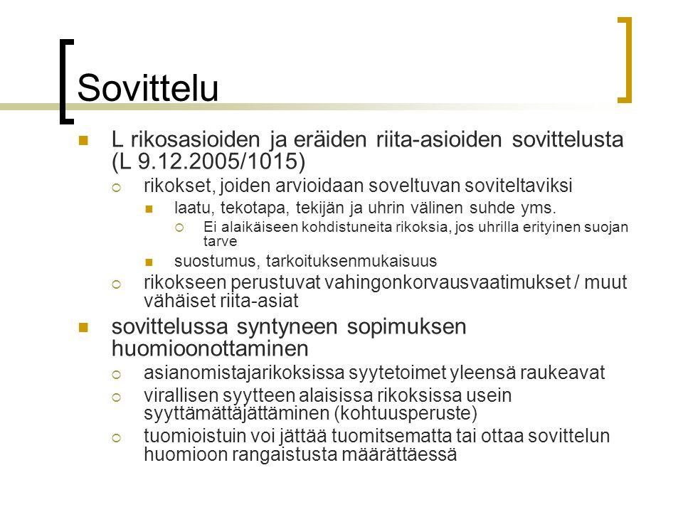 Sovittelu L rikosasioiden ja eräiden riita-asioiden sovittelusta (L 9.12.2005/1015) rikokset, joiden arvioidaan soveltuvan soviteltaviksi.