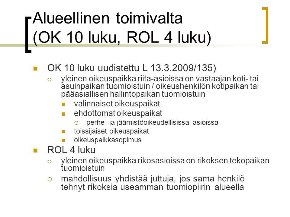 Alueellinen toimivalta (OK 10 luku, ROL 4 luku)