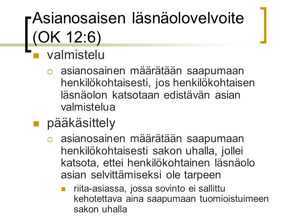 Asianosaisen läsnäolovelvoite (OK 12:6)