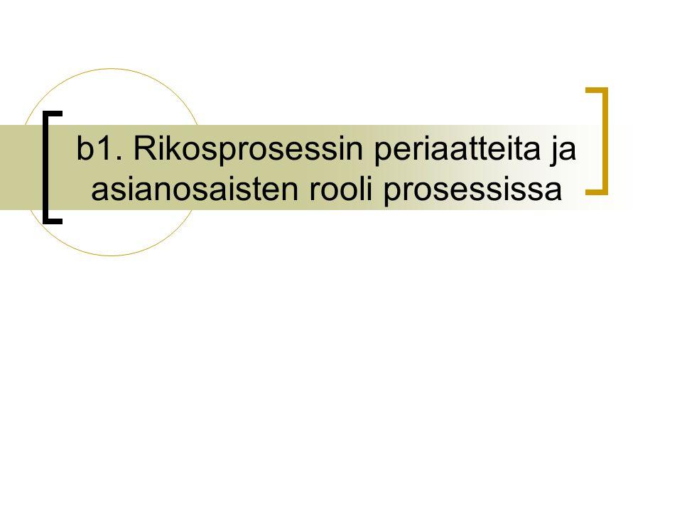 b1. Rikosprosessin periaatteita ja asianosaisten rooli prosessissa