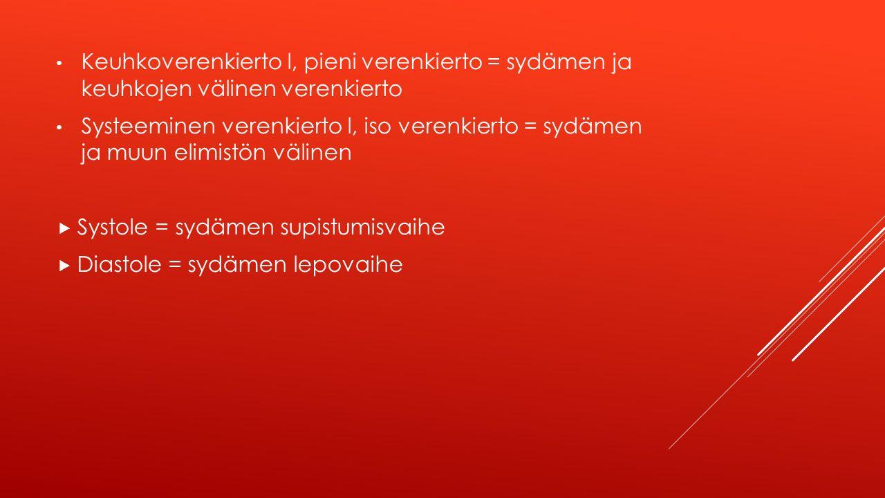 Keuhkoverenkierto l, pieni verenkierto = sydämen ja keuhkojen välinen verenkierto